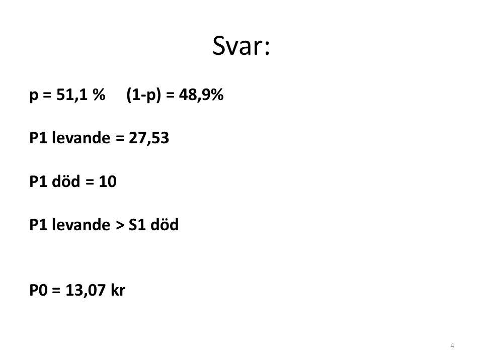 Svar: p = 51,1 % (1-p) = 48,9% P1 levande = 27,53 P1 död = 10 P1 levande > S1 död P0 = 13,07 kr 4
