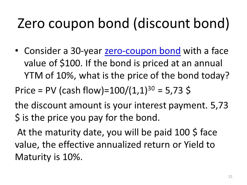 Zero coupon bond (discount bond) Consider a 30-year zero-coupon bond with a face value of $100. If the bond is priced at an annual YTM of 10%, what is