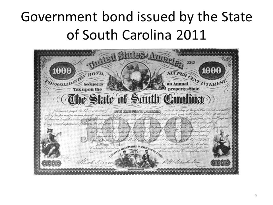 Government bond issued by the State of South Carolina 2011 9
