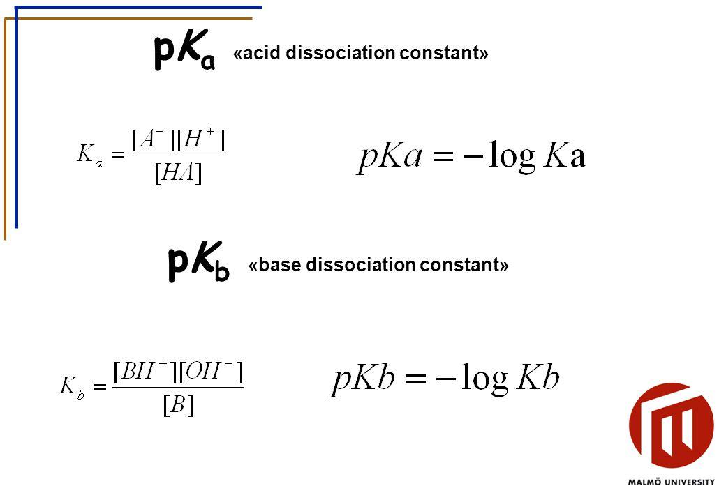 pK a «acid dissociation constant» pK b «base dissociation constant»