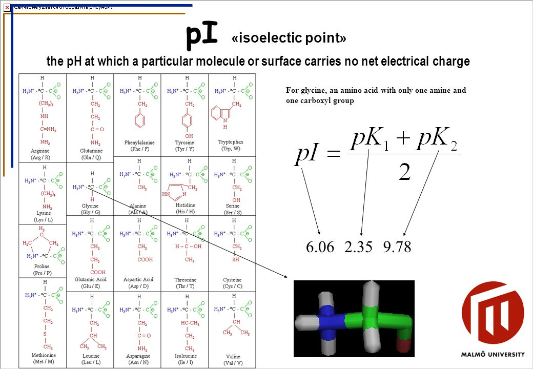 pI «isoelectic point» the pH at which a particular molecule or surface carries no net electrical charge For glycine, an amino acid with only one amine and one carboxyl group