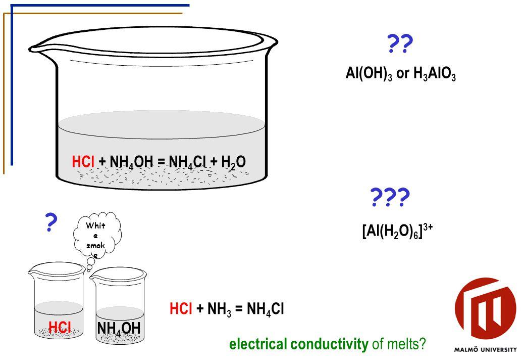 HCl NH 4 OH Whit e smok e HCl + NH 3 = NH 4 Cl . HCl + NH 4 OH = NH 4 Cl + H 2 O .