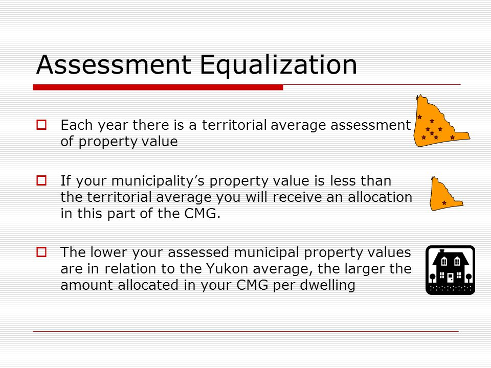 Assessment Equalization  Each year there is a territorial average assessment of property value  If your municipality's property value is less than t