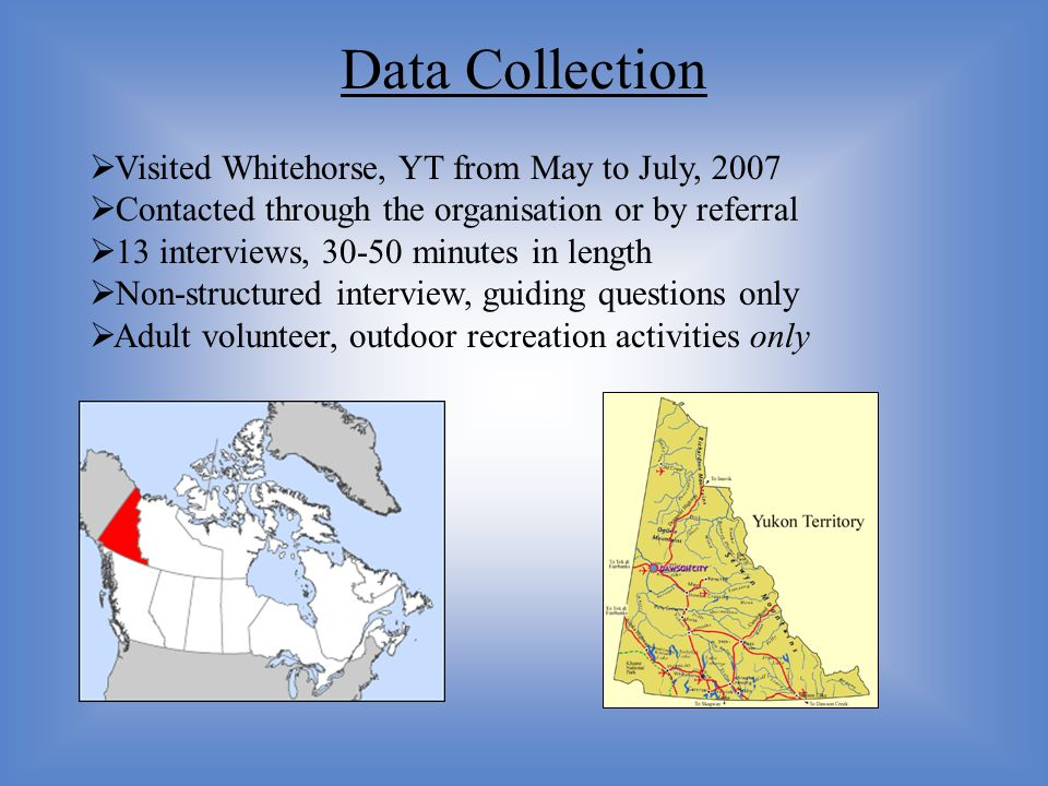  Visited Whitehorse, YT from May to July, 2007  Contacted through the organisation or by referral  13 interviews, 30-50 minutes in length  Non-str