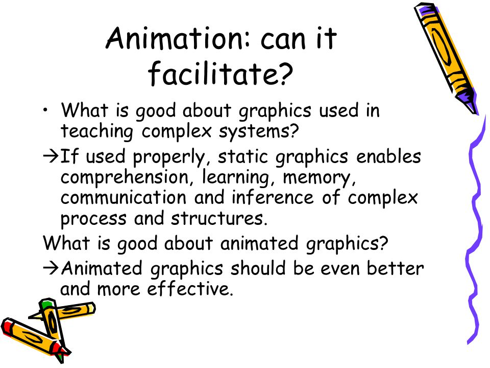 Animation: can it facilitate. What is good about graphics used in teaching complex systems.