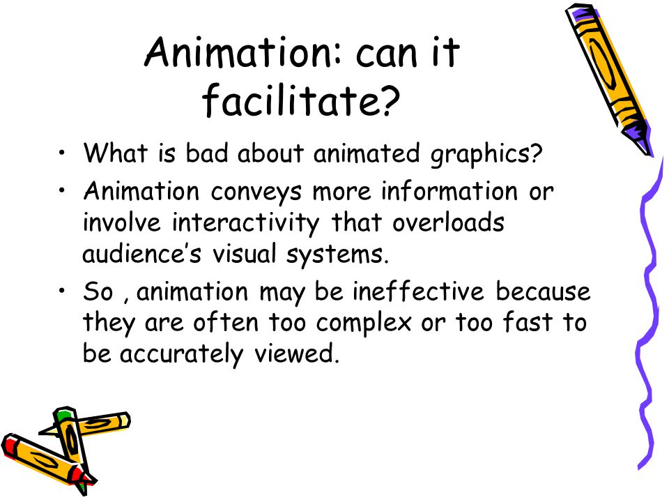 Judging Animation based on two Principles The Congruence Principle: –The structure and content of the external representation should correspond to the desired structure and content of the internal representation.