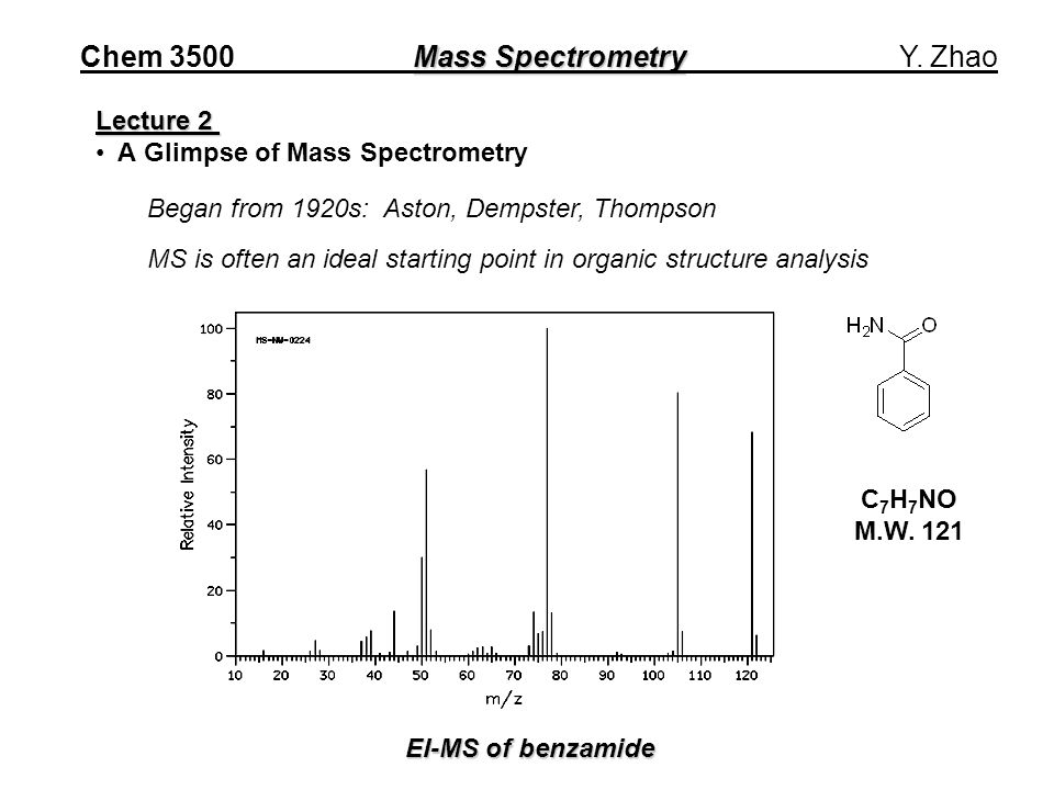 Mass Spectrometry Chem 3500 Mass Spectrometry Y.