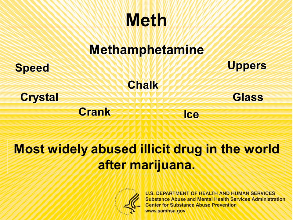 Meth Methamphetamine Speed Chalk Ice Crystal Crank Glass Uppers Most widely abused illicit drug in the world after marijuana.