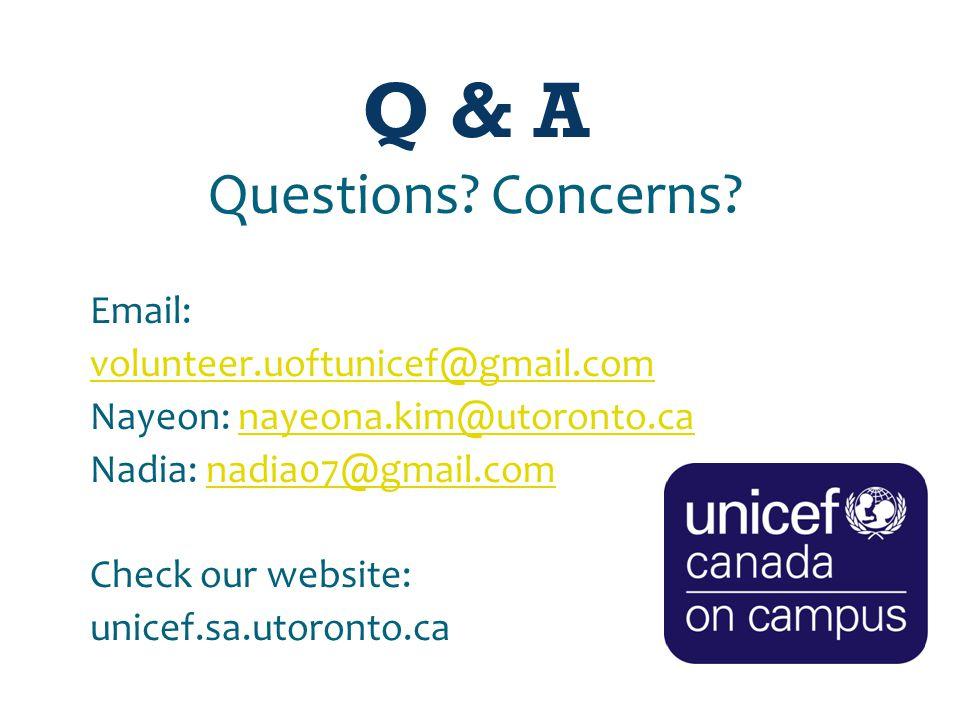 Q & A Questions. Concerns.