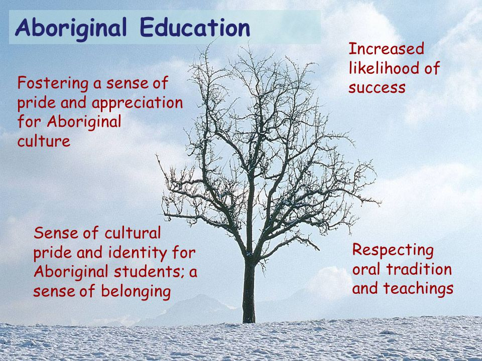 Respecting oral tradition and teachings Sense of cultural pride and identity for Aboriginal students; a sense of belonging Fostering a sense of pride and appreciation for Aboriginal culture Increased likelihood of success Aboriginal Education