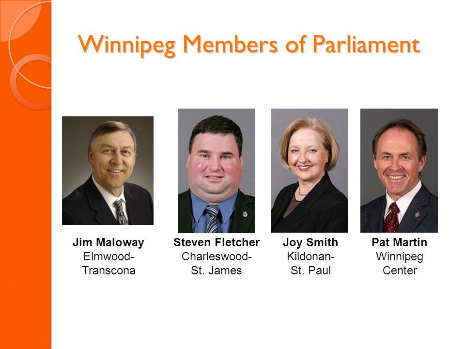 Winnipeg Members of Parliament Joy Smith Kildonan- St. Paul Pat Martin Winnipeg Center Steven Fletcher Charleswood- St. James Jim Maloway Elmwood- Tra