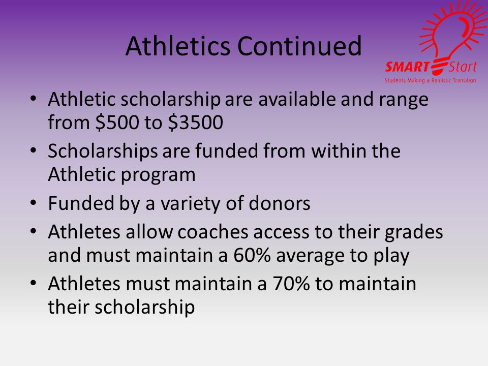 Athletics Continued Athletic scholarship are available and range from $500 to $3500 Scholarships are funded from within the Athletic program Funded by a variety of donors Athletes allow coaches access to their grades and must maintain a 60% average to play Athletes must maintain a 70% to maintain their scholarship