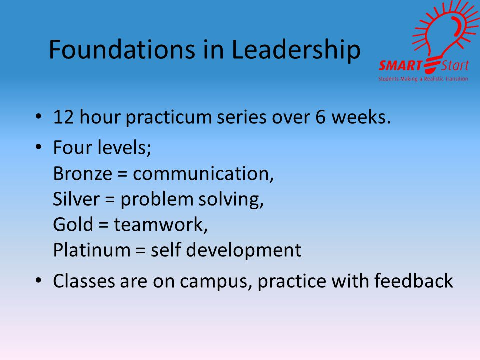 Foundations in Leadership 12 hour practicum series over 6 weeks.
