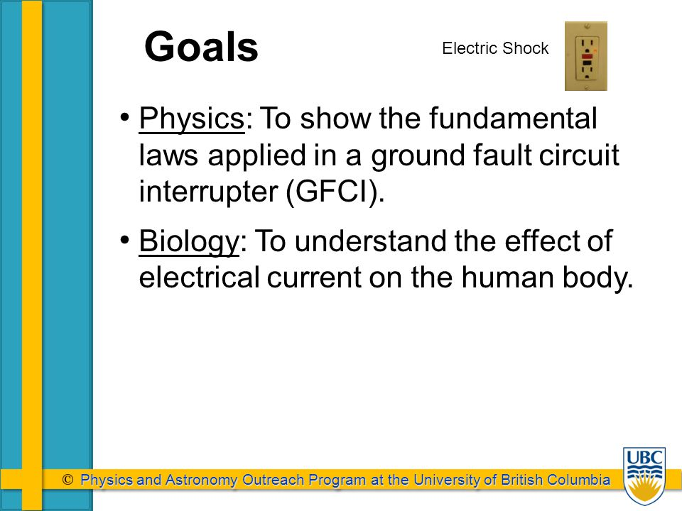 Physics and Astronomy Outreach Program at the University of British Columbia Physics and Astronomy Outreach Program at the University of British Columbia Physics: To show the fundamental laws applied in a ground fault circuit interrupter (GFCI).