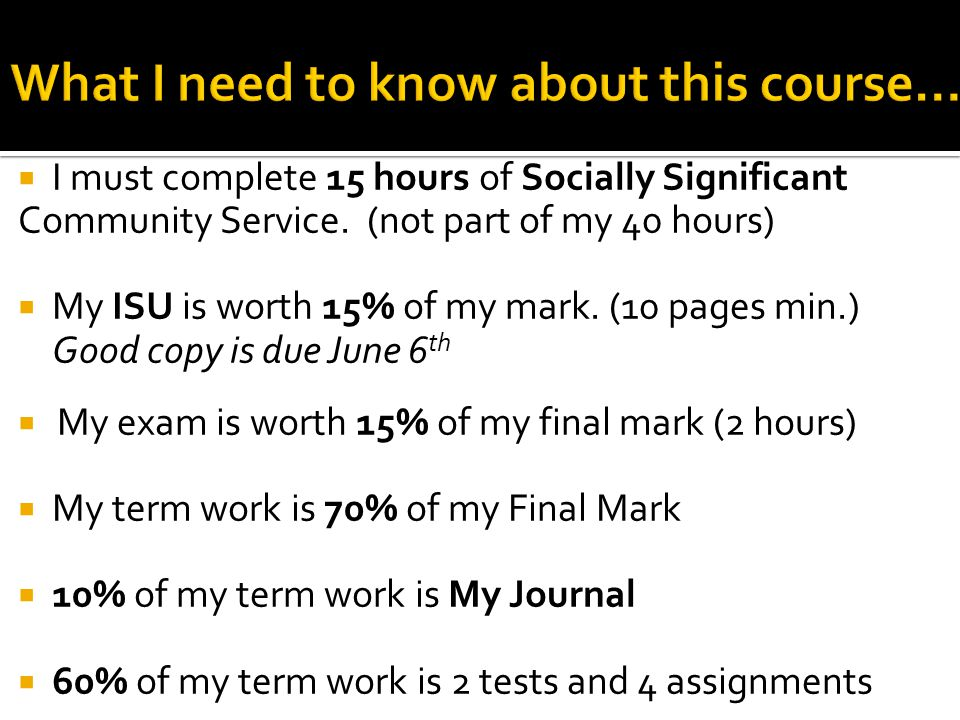  I must complete 15 hours of Socially Significant Community Service. (not part of my 40 hours)  My ISU is worth 15% of my mark. (10 pages min.) Good