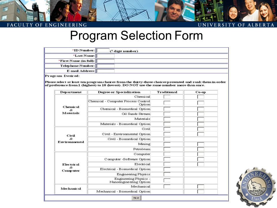 Program Selection Form