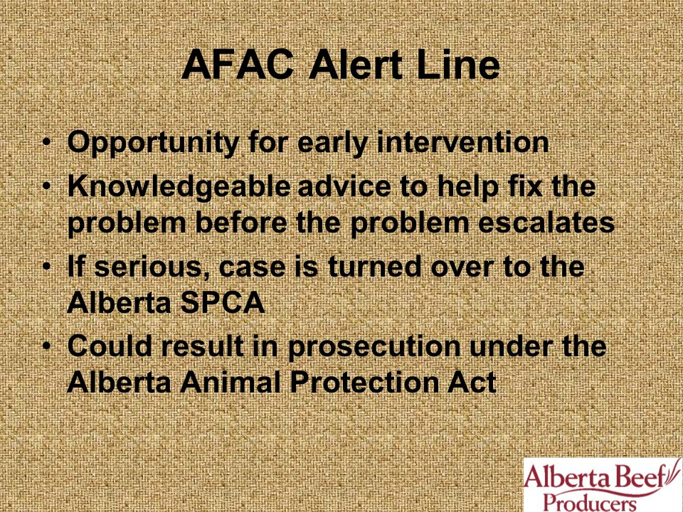 AFAC Alert Line Opportunity for early intervention Knowledgeable advice to help fix the problem before the problem escalates If serious, case is turned over to the Alberta SPCA Could result in prosecution under the Alberta Animal Protection Act
