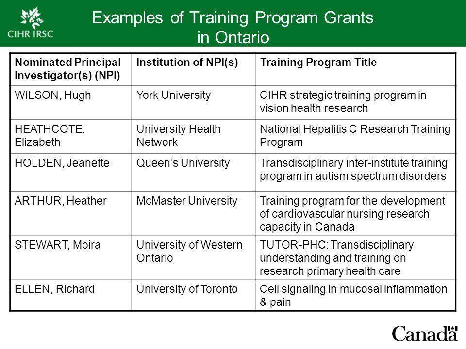 Examples of Training Program Grants in Ontario Nominated Principal Investigator(s) (NPI) Institution of NPI(s)Training Program Title WILSON, HughYork
