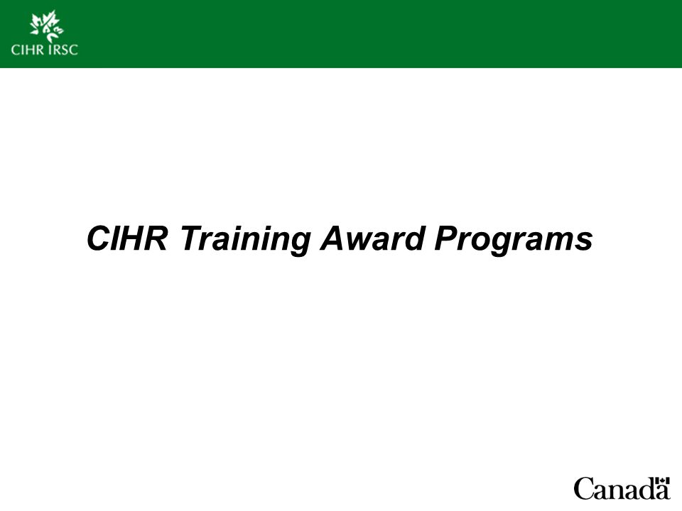 CIHR Training Award Programs
