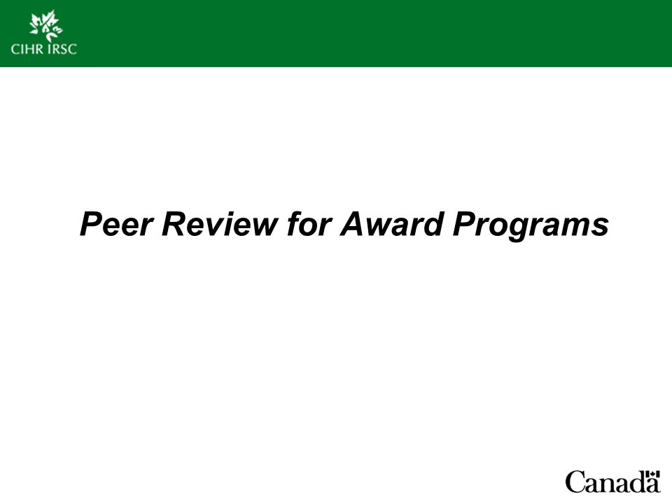 Peer Review for Award Programs
