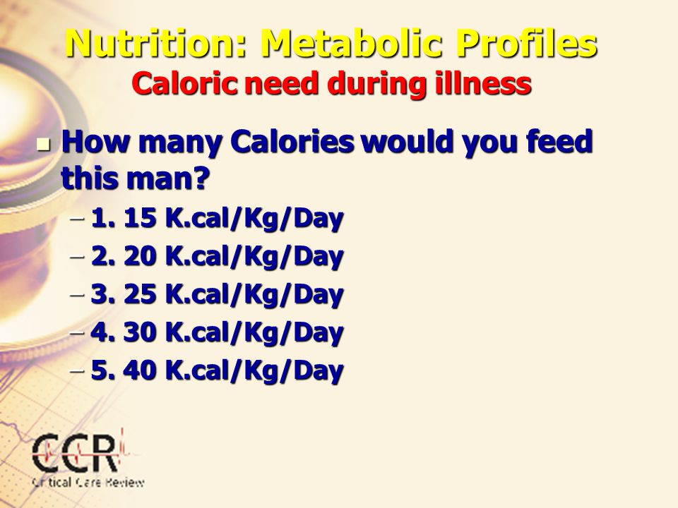 Nutrition: Metabolic Profiles Caloric need during illness How many Calories would you feed this man? How many Calories would you feed this man? –1. 15