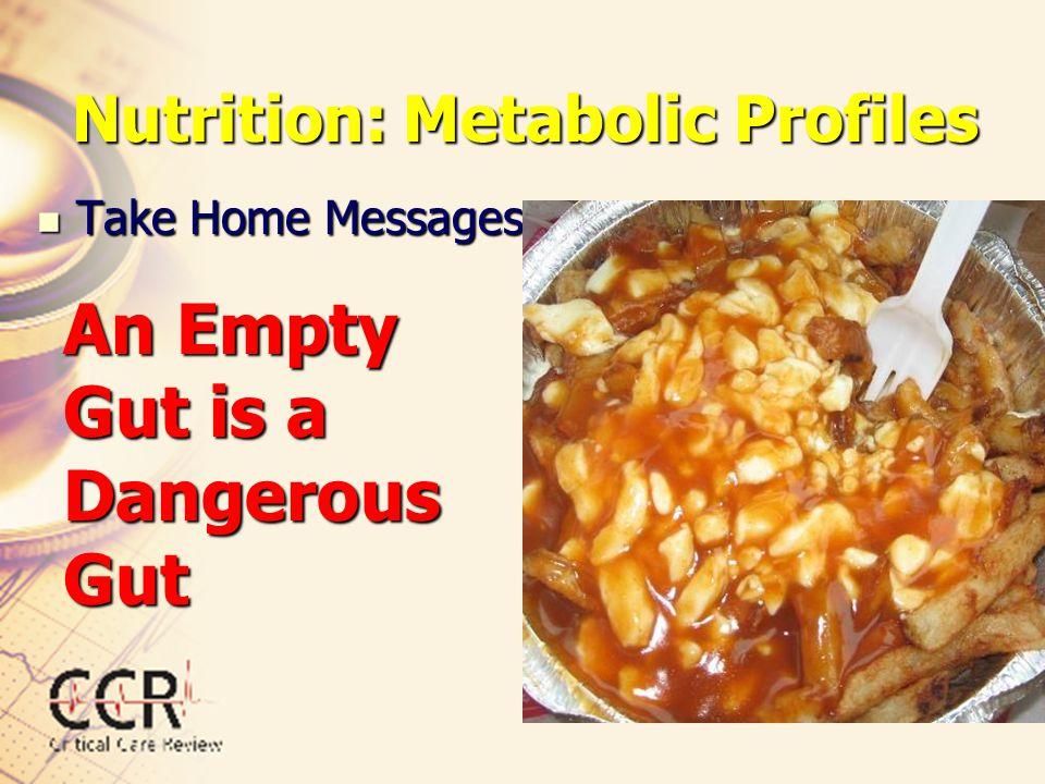 Nutrition: Metabolic Profiles Take Home Messages Take Home Messages An Empty Gut is a Dangerous Gut