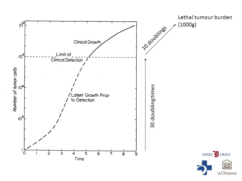 Lethal tumour burden (1000g) 30 doubling times 10 doublings
