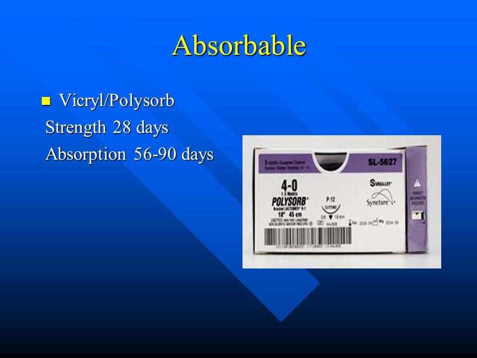 Absorbable Vicryl/Polysorb Vicryl/Polysorb Strength 28 days Strength 28 days Absorption 56-90 days Absorption 56-90 days