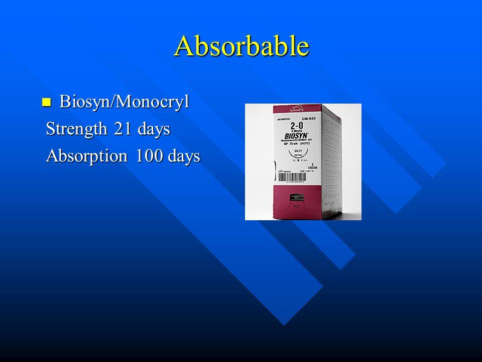 Absorbable Biosyn/Monocryl Biosyn/Monocryl Strength 21 days Strength 21 days Absorption 100 days Absorption 100 days