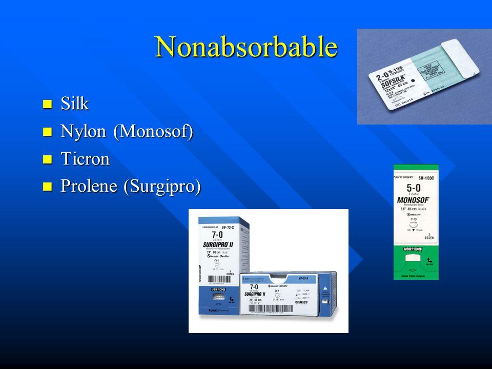 Nonabsorbable Silk Silk Nylon (Monosof) Nylon (Monosof) Ticron Ticron Prolene (Surgipro) Prolene (Surgipro)