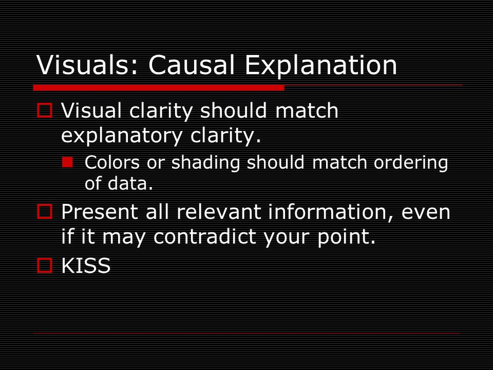Visuals: Causal Explanation  Visual clarity should match explanatory clarity.
