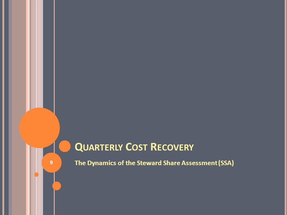 Q UARTERLY C OST R ECOVERY The Dynamics of the Steward Share Assessment (SSA) 9