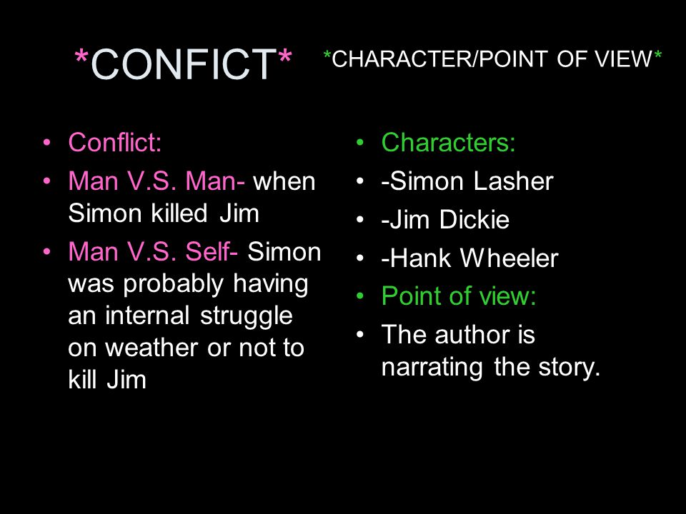*CONFICT* Conflict: Man V.S. Man- when Simon killed Jim Man V.S. Self- Simon was probably having an internal struggle on weather or not to kill Jim Ch