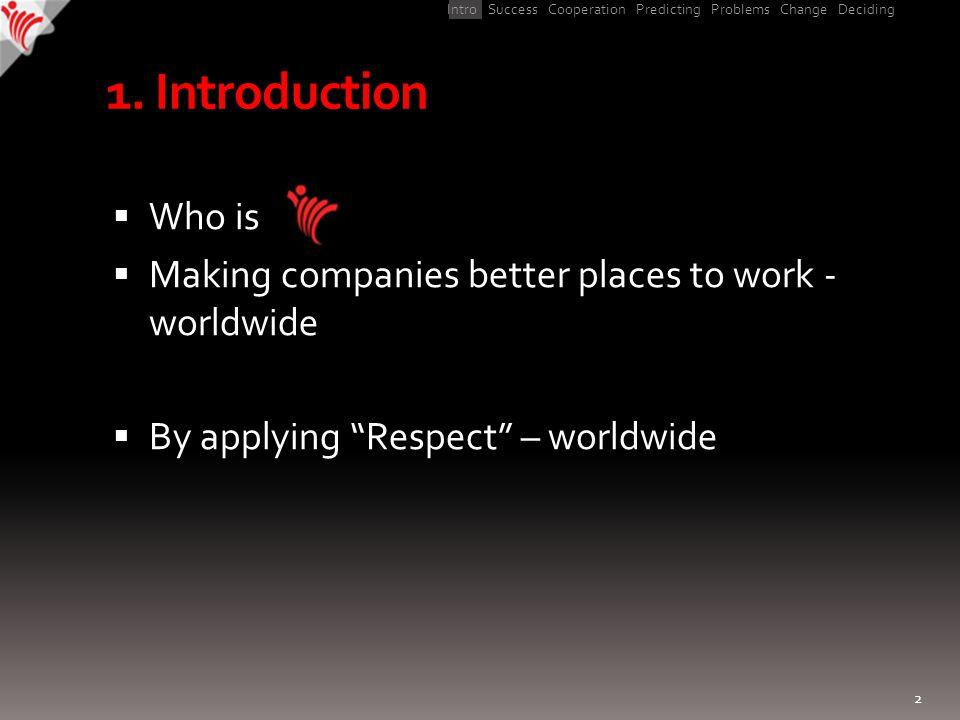 Intro Success Cooperation Predicting Problems Change Deciding 1.