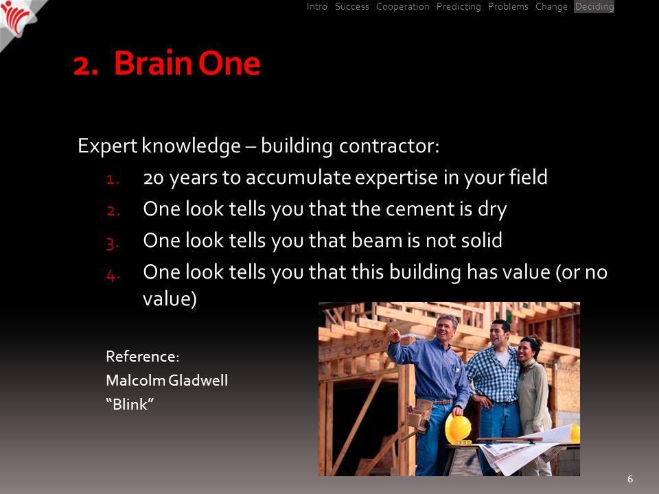 Intro Success Cooperation Predicting Problems Change Deciding 2.