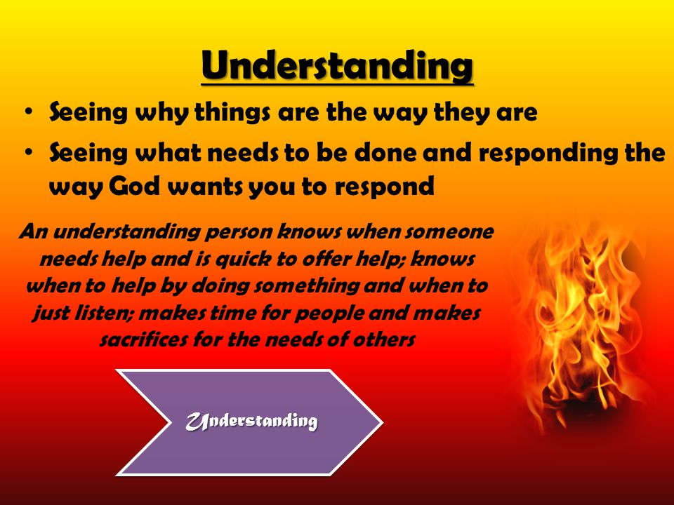 Understanding Seeing why things are the way they are Seeing what needs to be done and responding the way God wants you to respond An understanding per