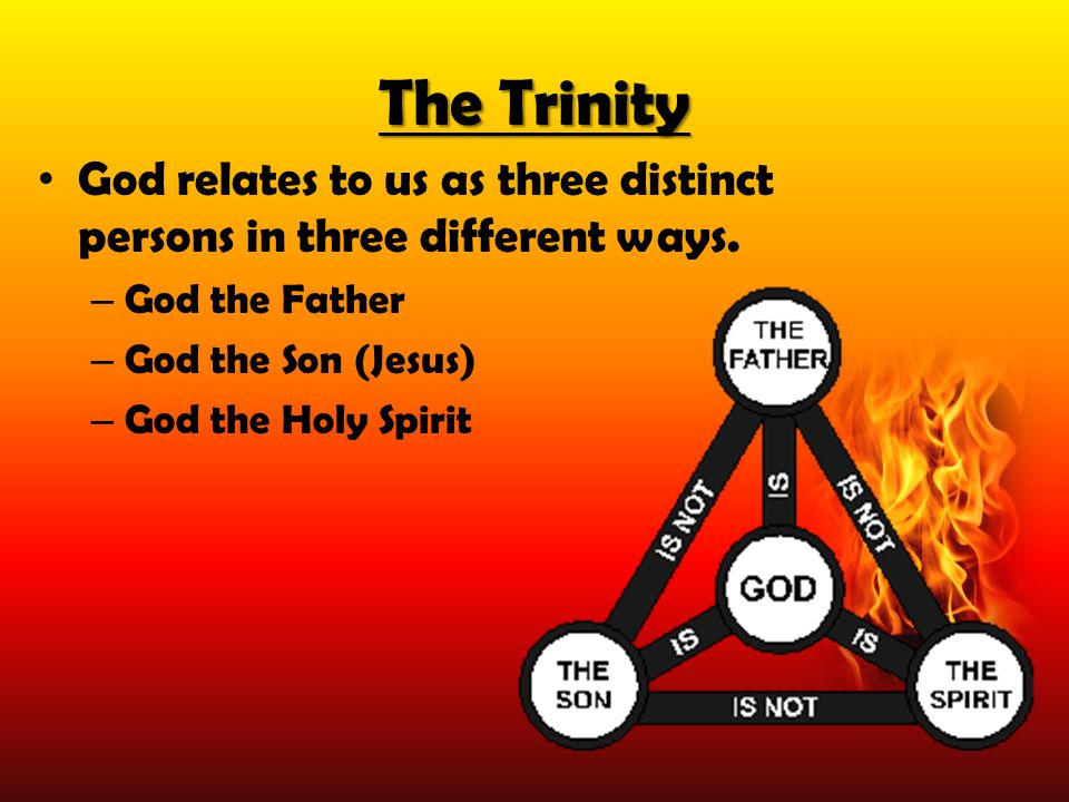 The Trinity God relates to us as three distinct persons in three different ways. – God the Father – God the Son (Jesus) – God the Holy Spirit
