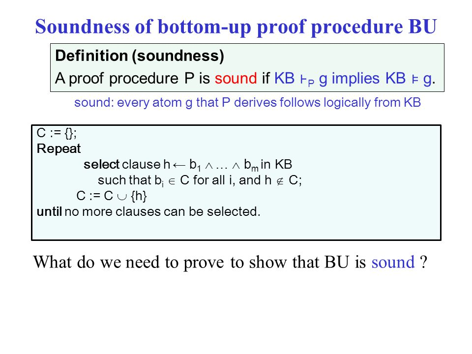 Soundness of bottom-up proof procedure BU What do we need to prove to show that BU is sound .