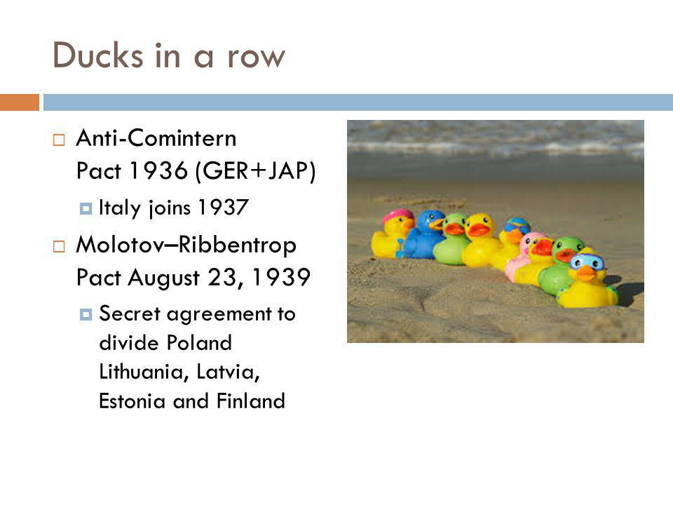 Ducks in a row  Anti-Comintern Pact 1936 (GER+JAP)  Italy joins 1937  Molotov–Ribbentrop Pact August 23, 1939  Secret agreement to divide Poland Lithuania, Latvia, Estonia and Finland