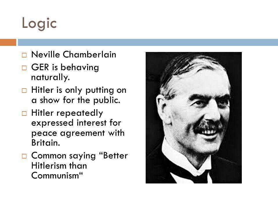 Logic  Neville Chamberlain  GER is behaving naturally.