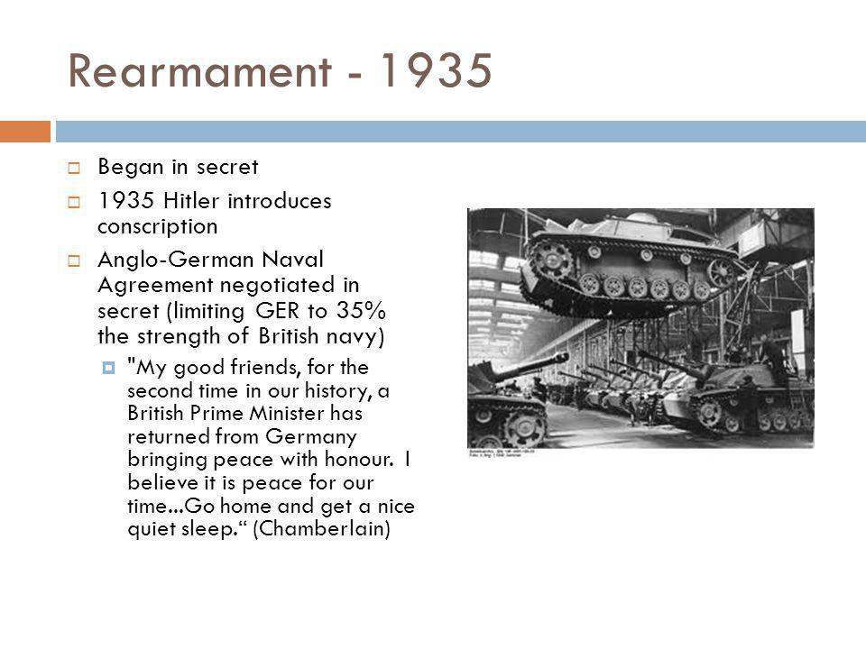German Buildup  Army 100,000  Warships 30  Aircraft 36  Army 950,000  Warships 95  Aircraft 8,250  Capture of Czech arms industry a big boost 19321939