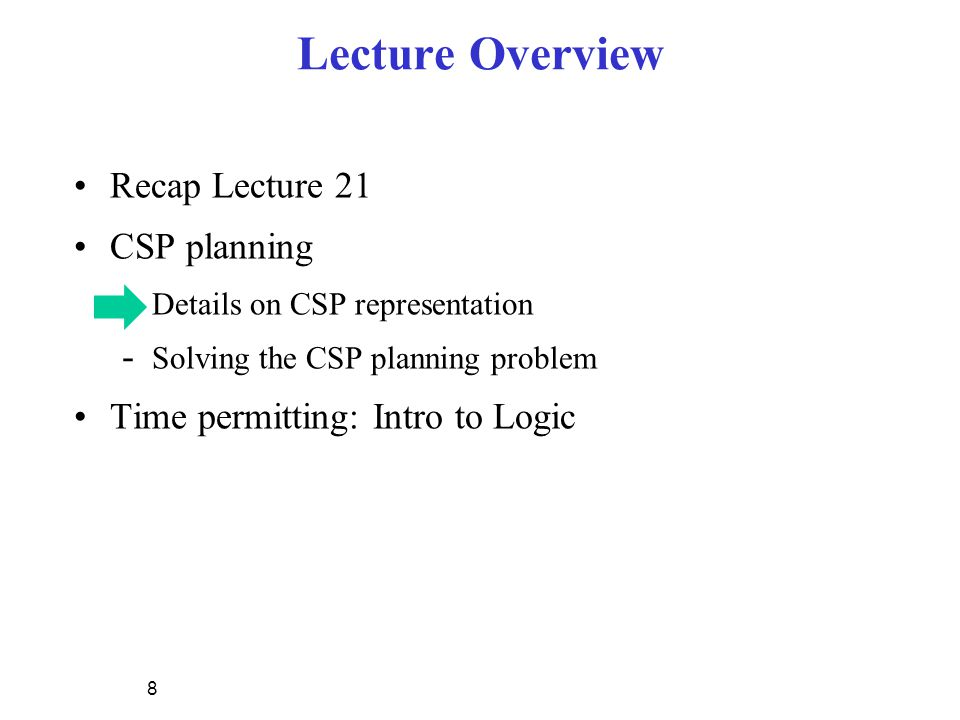 Lecture Overview Recap Lecture 21 CSP planning - Details on CSP representation - Solving the CSP planning problem Time permitting: Intro to Logic 8