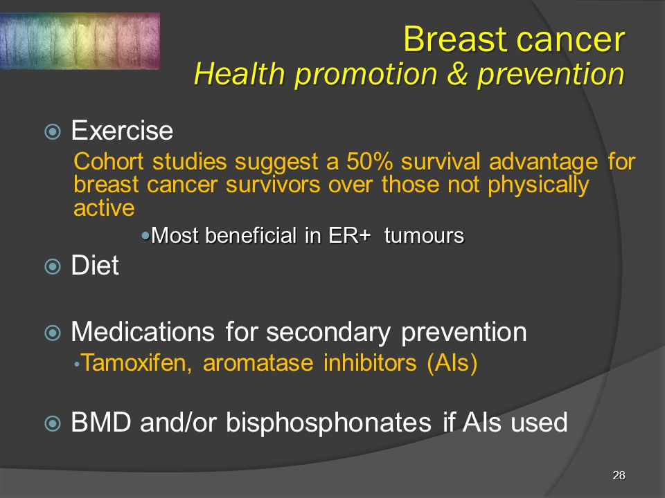 28  Exercise Cohort studies suggest a 50% survival advantage for breast cancer survivors over those not physically active Most beneficial in ER+ tumo