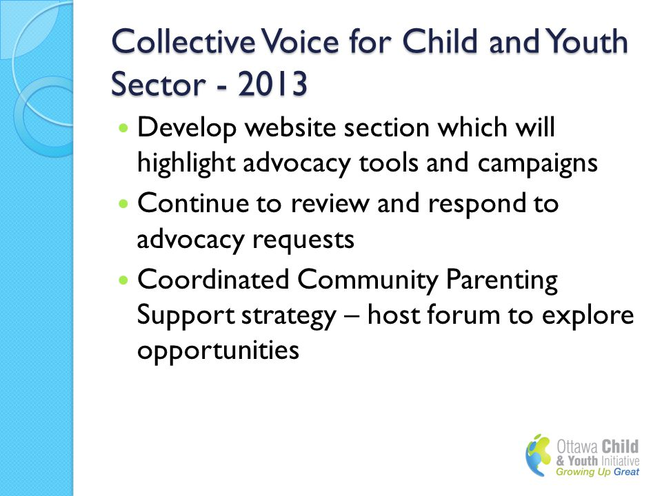Collective Voice for Child and Youth Sector - 2013 Develop website section which will highlight advocacy tools and campaigns Continue to review and respond to advocacy requests Coordinated Community Parenting Support strategy – host forum to explore opportunities