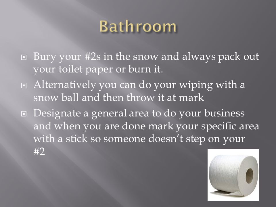  Bury your #2s in the snow and always pack out your toilet paper or burn it.