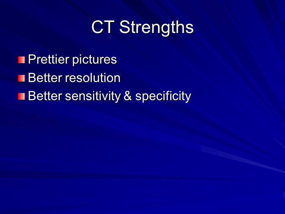 CT Strengths Prettier pictures Better resolution Better sensitivity & specificity