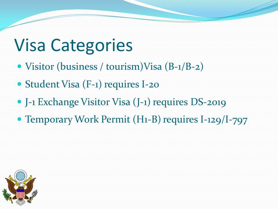 Visa Categories Visitor (business / tourism)Visa (B-1/B-2) Student Visa (F-1) requires I-20 J-1 Exchange Visitor Visa (J-1) requires DS-2019 Temporary Work Permit (H1-B) requires I-129/I-797