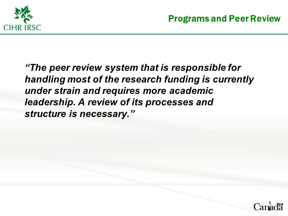 Programs and Peer Review The peer review system that is responsible for handling most of the research funding is currently under strain and requires more academic leadership.