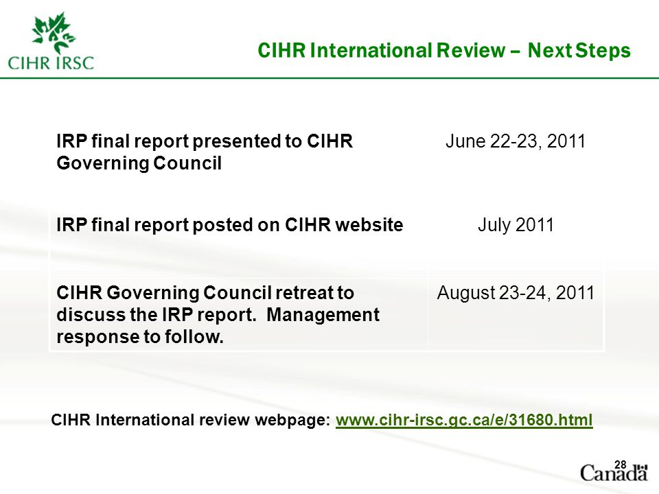 CIHR International Review – Next Steps IRP final report presented to CIHR Governing Council June 22-23, 2011 IRP final report posted on CIHR websiteJuly 2011 CIHR Governing Council retreat to discuss the IRP report.