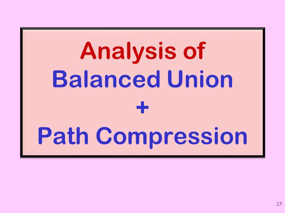 Analysis of Balanced Union + Path Compression 25
